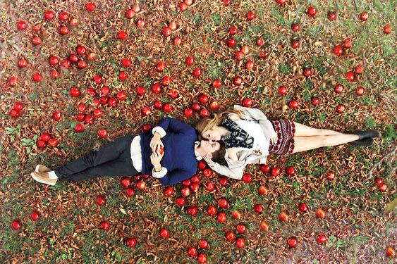 apple orchard engagement shoot