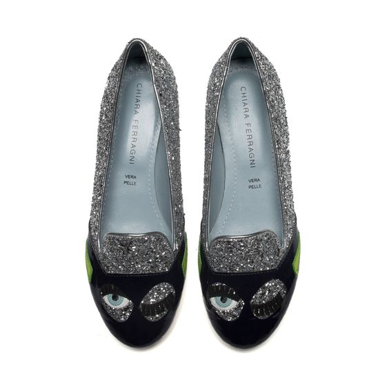 "Silver glitter ""Flirting"" slippers with patent and suede embroideries and black and green patent point cover; ton-sur-ton glitter covered heels. Light blue leather lining and insole. Made in Italy"