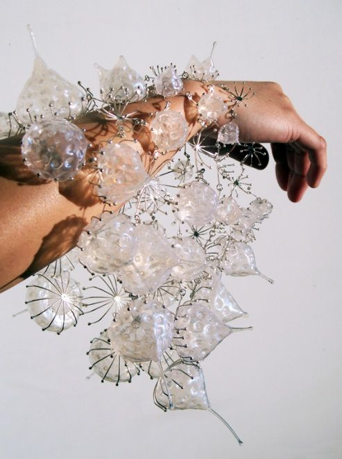 Bracelet | Kathy Vones. 'Sea Urchin'. Wire cages filled with silicon.