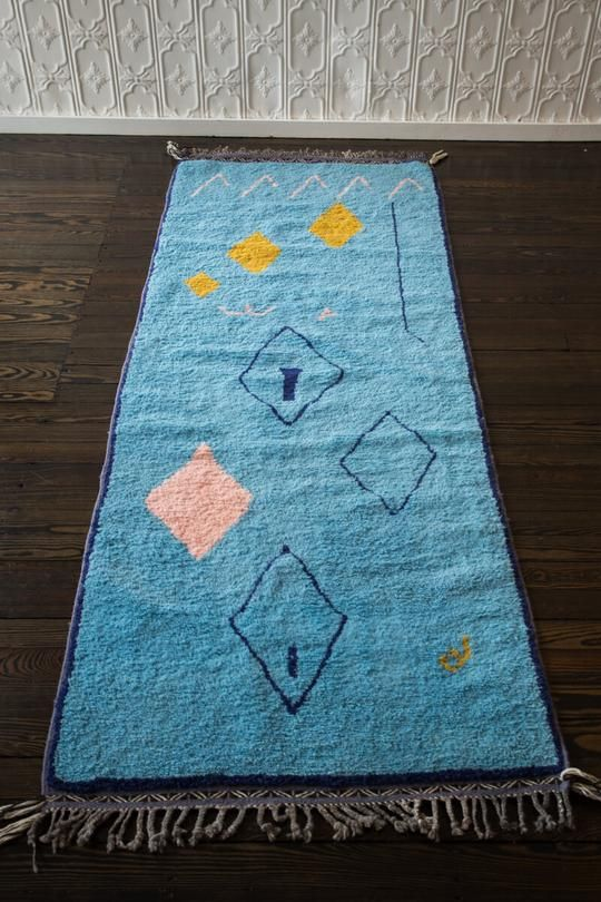 This Blue Multi Colored Handmade Moroccan Rug Is A Show Stopper At Just Over 3 Feet Wide Its A Bit Of A Runner Accent Rugs Handmade Moroccan Rugs Morrocan Rug