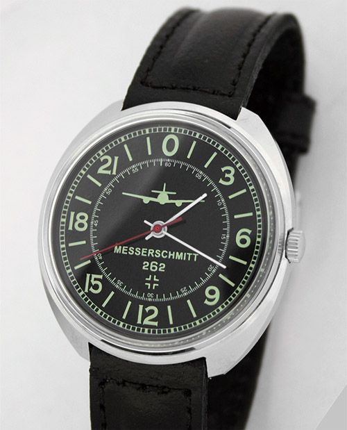 This sort of watch bothers the heck out of me. I know that Raketa in particular makes lots of commemorative watches, but I find it hard to believe that patriotic Russians would be happy with this one commemorating a Nazi aeroplane. There are a lot of these for sale on eBay though; I hope they're not legit Raketas.