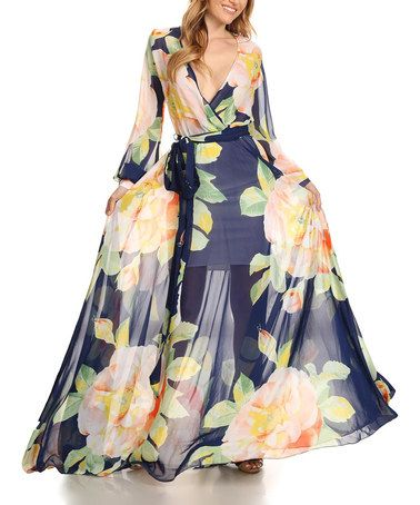 Another great find on #zulily! Navy & Peach Floral Tie-Waist Surplice Dress - Plus Too #zulilyfinds