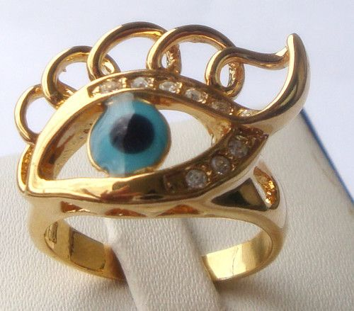 New yellow Gold GP turquoise eye women's ring girl's gift size8