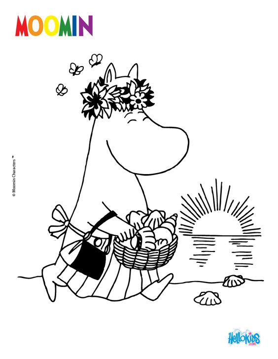 happy  moomin coloring page for kids