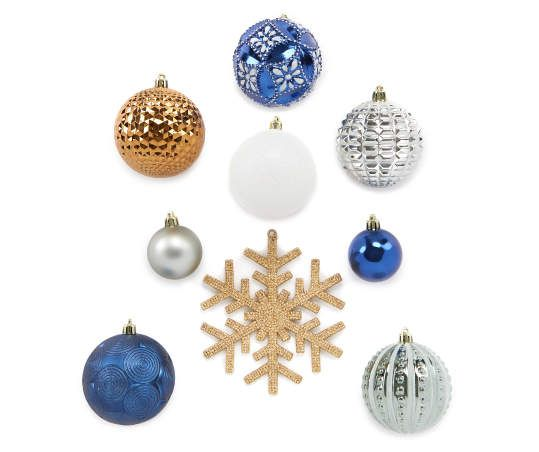Biglots Deals On Christmas Decorations 2020 Winter Wonder Lane Blue, Silver & Gold 24 Piece Shatterproof