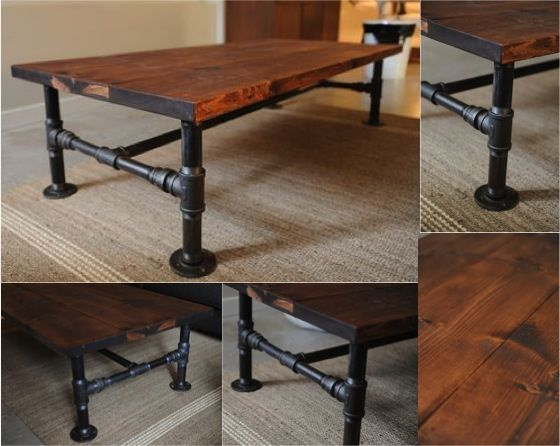 Diy industrial pipe coffee table industrial pipes and for Interesting table legs
