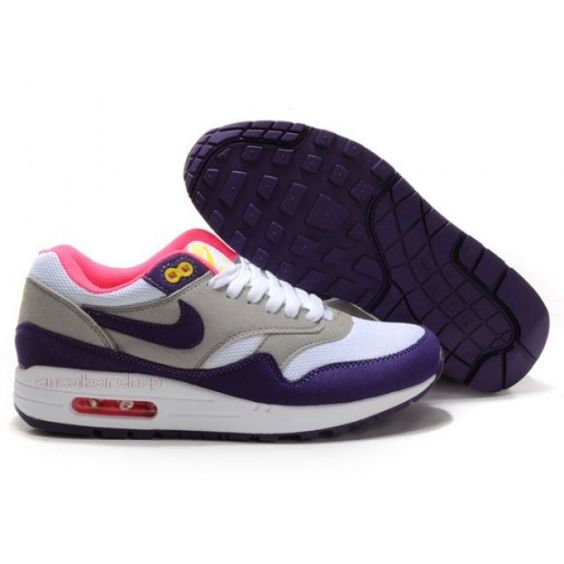 Nike Shox Shoes, Nike Womens Shoes Buy Nike Air Max 1 Womens White Grey  Purple 69