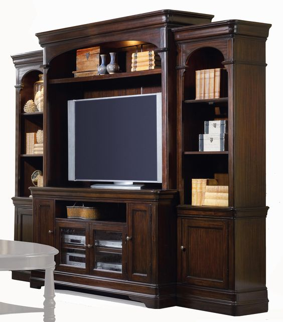 Sheridan Traditional Four Piece Breakfront Entertainment Wall Unit With  Touch Lighting And Adjustable Shelves By Hooker Furniture   Stoney Creek  Furniture ...