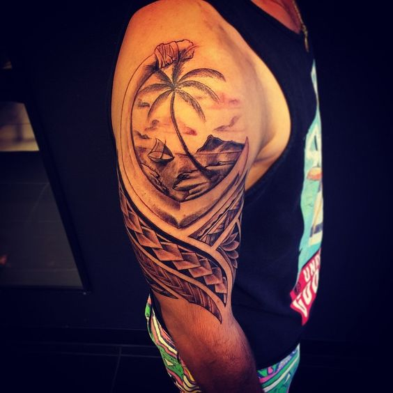 Hafa adai, half a sleeve. First tattoo!