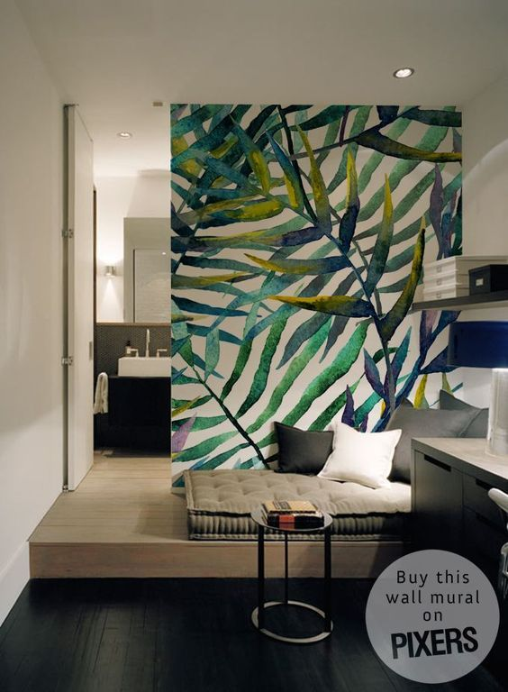 Details about  /Photo wallpaper Wall mural Removable Self-adhesive Tropical leaves