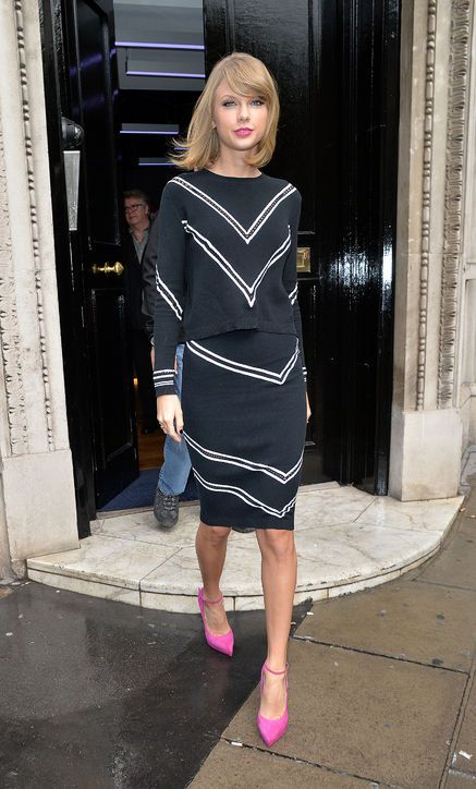 Taylor Swift in a matching Tanya Taylor top and skirt