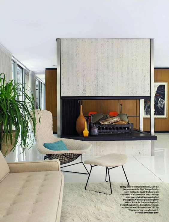 Mid Century Modern Living Interiors And Furnishings Pinterest Fireplaces Ottomans And