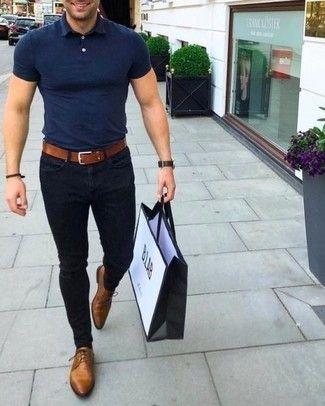 Men's Navy Polo, Black Skinny Jeans