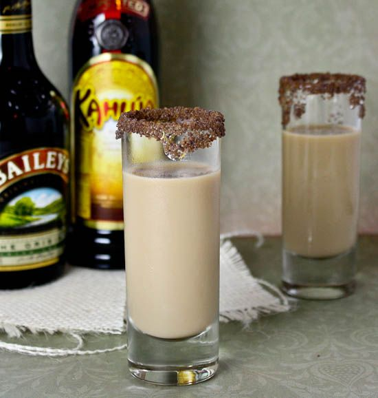 Girl Scout Cookie Shooter (tastes like a Thin Mint) - 1/2 oz Kahlua, 1/2 oz Baileys and 1/2 oz Peppermint Schnapps. Mix all in a shaker over ice, pour, shoot, REPEAT! The glass is rimmed with chocolate flavored sugar.