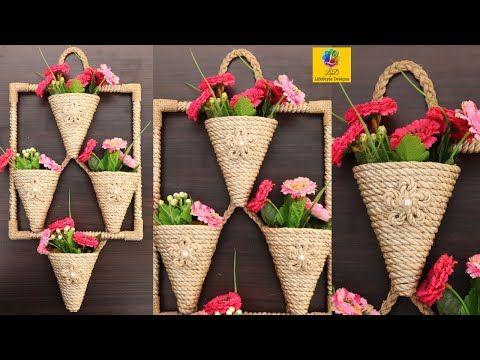Diy Wall Hanging Flower Vase With Jute Flower Pot Using Jute Rope Wall Decor Jute Craft Idea Youtube Diy Wall Hanging Flower Jute Crafts Jute Flowers