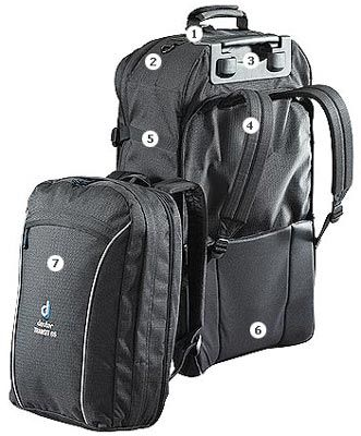 Deuter Transit 65 - Rolling Luggage/Backpack combo with detachable day pack