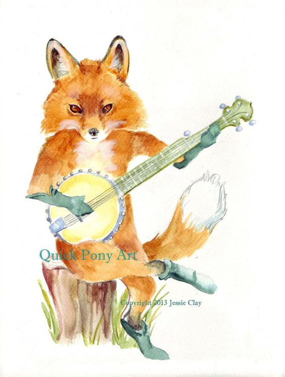 Fox Playing Banjo print of my original watercolor by QuickPony, $19.00