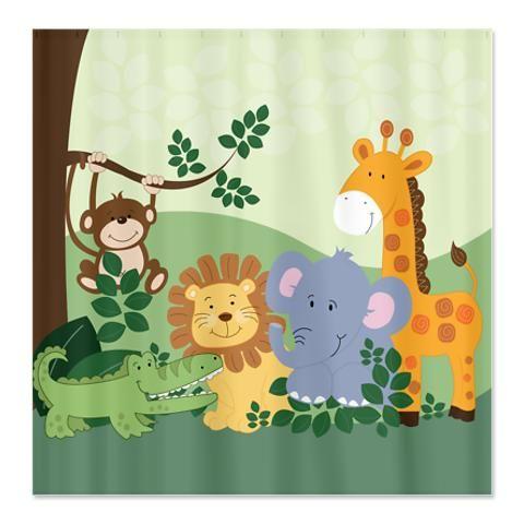 Jungle Safari Animals Shower Curtain | Jungle safari, Jungle theme ...