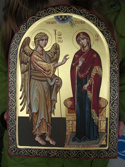 The Annunciation ~ You are the beginning of salvation for all of us on earth,  Virgin Mother of God. For the great Archangel Gabriel, God's minister, Was sent from heaven to stand before you to bring you joy: Therefore, we all cry to you: Rejoice, O unwedded Bride.  www.theorthodoxicon.com: