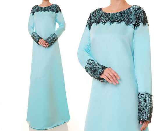 Baby Blue Abaya Bridal Satin Evening Gown by Tailored2Modesty