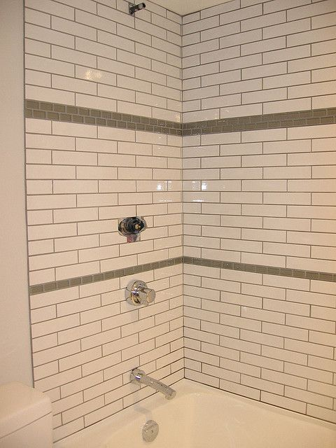 Accent Tile with White Subway Tile, darker grout - Shower Tile Ideas