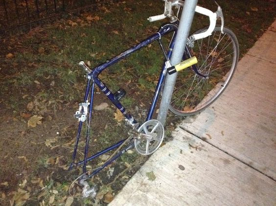 That abandoned art bicycle, well, that abandoned bicycle I dubbed to be art, lost its wheel
