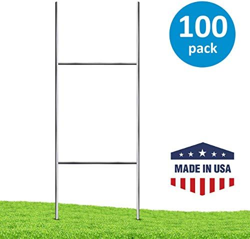 Amazing Offer On Yard Sign Stakes 100 Pack Professional 24 X 9 H Stakes Yard Signs Weatherproof Metal Yard Sign Stakes Corrugated Plastic Signs New Onli In 2020 Corrugated