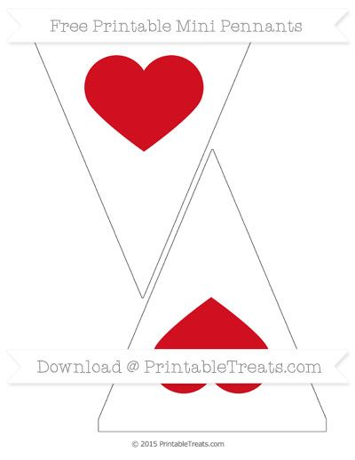 Lava Red  Heart Theme On White Simple Mini Pennants