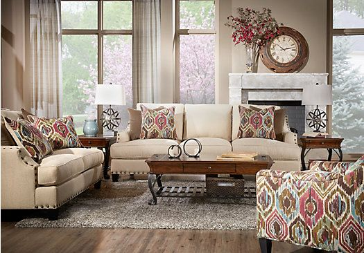 shop for a cindy crawford sidney road taupe 5pc classic living room at rooms to go find living room sets that will look great in your home and comu2026 - Cindy Crawford Furniture