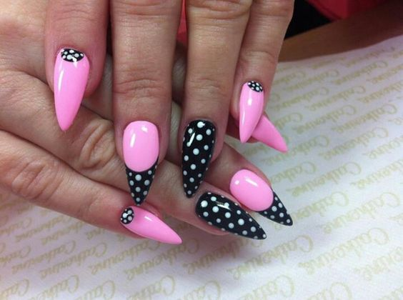Pink with black and white polka dots