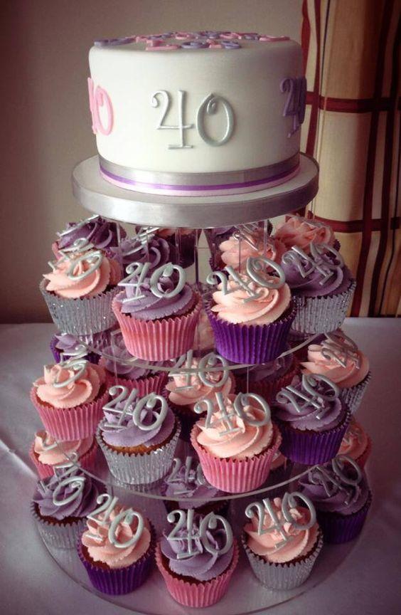 40th birthday cupcake tower Birthday Party Idea ...