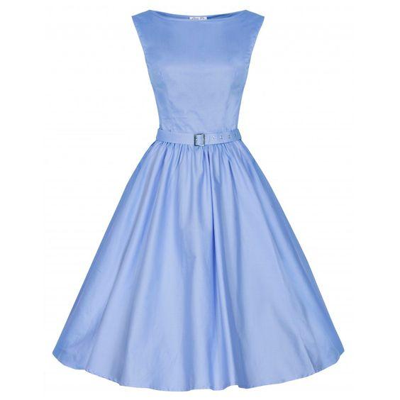 'Audrey' Hepburn Style Vintage 1950's Pastel Blue Rockabilly Swing Dress