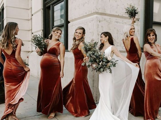 We love this stunning rose velvet bridesmaid dress by Jenny Yoo