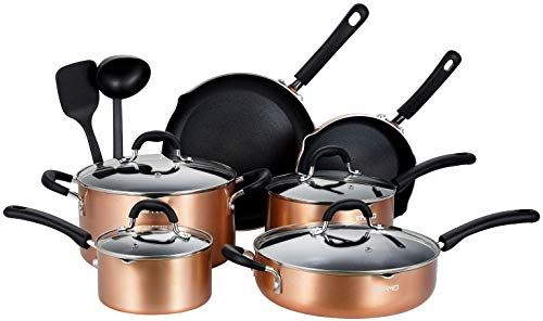 The Perfect Eppmo 12 Piece Copper Nonstick Cookware Set Aluminum Pots And Pans Dishwasher And Ove In 2020 Cookware Set Nonstick Cookware Cookware Set Stainless Steel