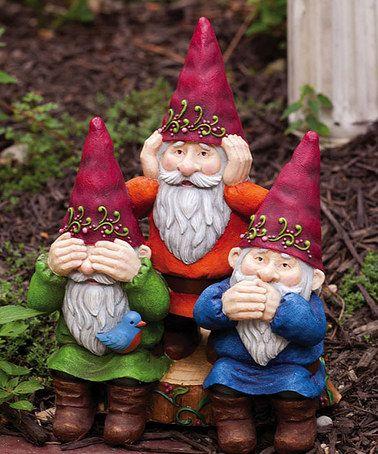 See Hear Speak No Evil Gnome Statue Gardens Look At