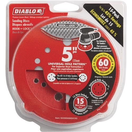 Diablo 5 In. Universal Hook & Lock Vented Sanding Disc, Grey
