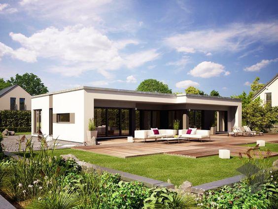Flachdachbungalow Modern komfortables wohnen auf einer ebene mit rund 142 qm bietet der