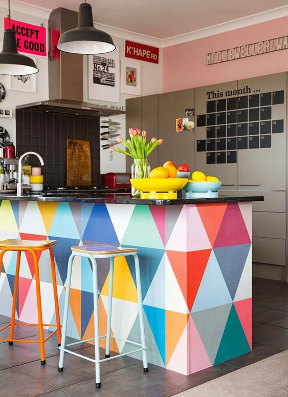 an amazingly colorful kitchen  - cooking would be so much more fun if you were doing it here!: