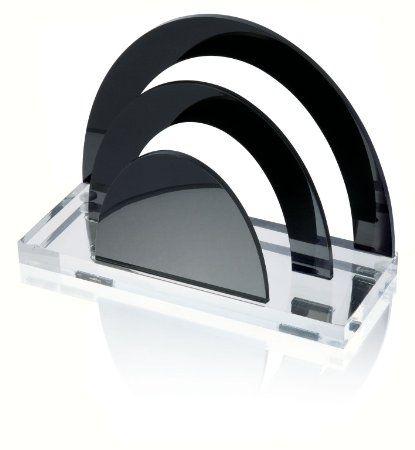 Acryl Briefständer ACRYL EXKLUSIV ,2 Fächer, glasklar/schwarz