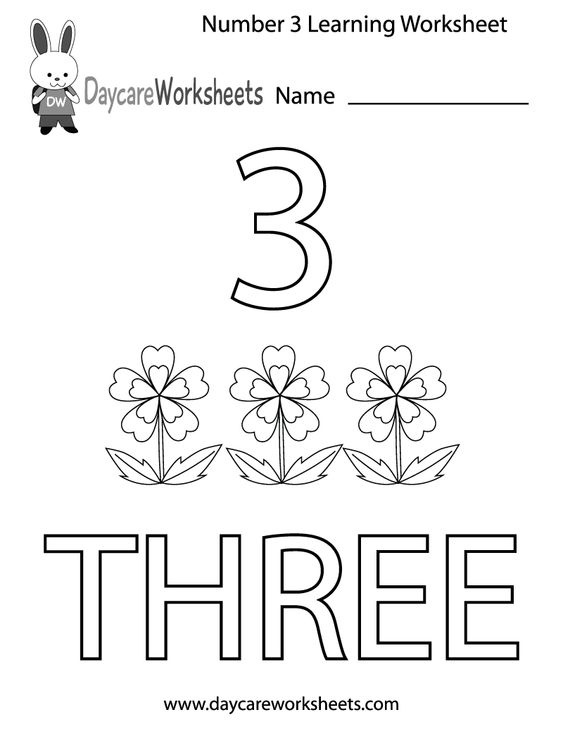 learning numbers worksheets | ... number three learning worksheet ...