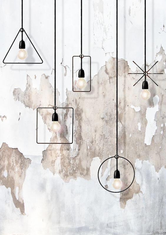 Luminárias geométricas.