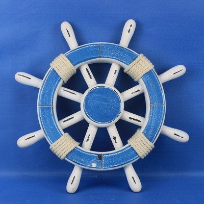 Beachcrest Home Rustic Wood Ship Wheel Wall Decor Colour Light Blue White Size 12 H X 12 W X 1 D Brown Wall Decor Fish Wall Decor Medallion Wall Decor