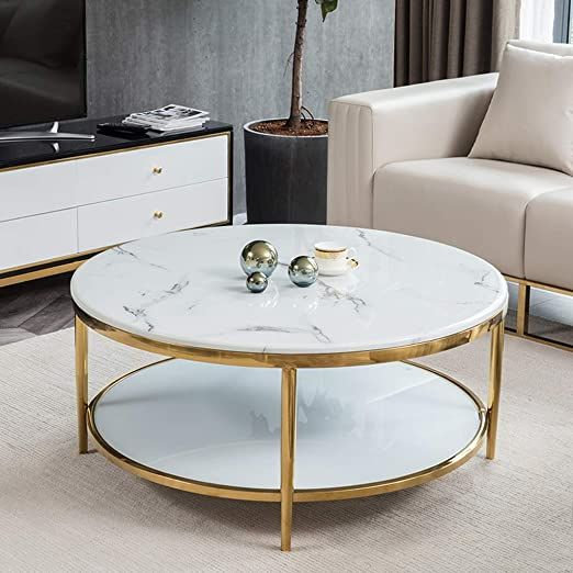 Tempered Glass And Marble Coffee Table With Lower Storage Shelf Living Room Furniture Modern Home D Coffee Table Modern Furniture Living Room Living Room Table