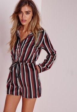 Petite Stripe Long Sleeve Shirt Playsuit Burgundy