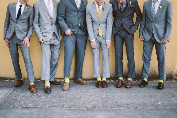Groomsmen #dreamdigs #modern #glam mixed match gray suits