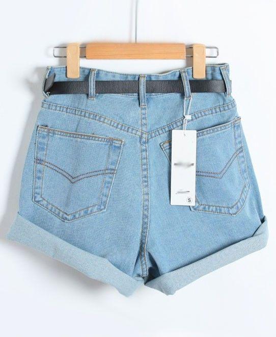 High Rise Cuffed Denim Shorts - The Else