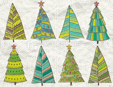 christmas trees on beije crumple background Royalty Free Stock Vector Art Illustration