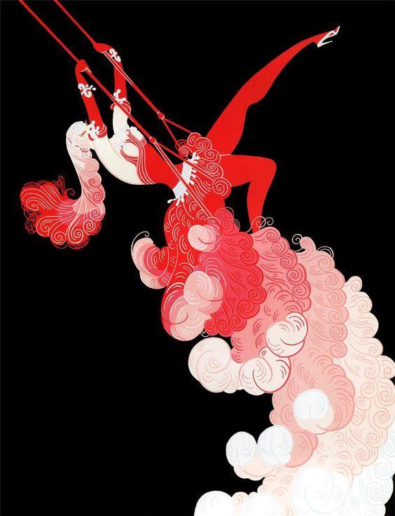 """At the Theatre, Trapeze"" by Erté (Romain de Tirtoff), Russian-born French artist. (1892 – 1990)"
