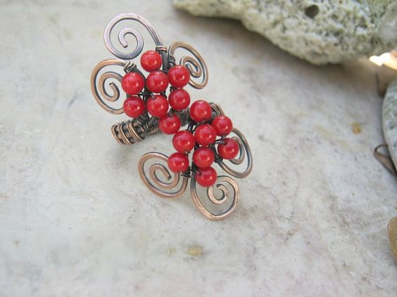 red coral swirl ring in copper by EdisLittleTreasures on Etsy, $24.00  http://www.etsy.com/listing/92600814/red-coral-swirl-ring-in-copper