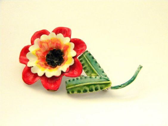 Vintage Soviet Flower Brooch, metal, 1980s